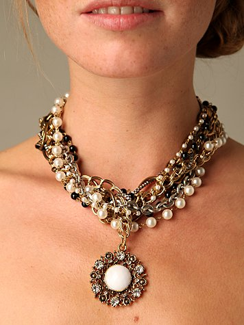 Free People Clothing Boutique > Pearl & Chain Nested Necklace :  necklace pearl and chain necklace choker accessory