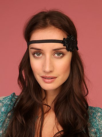 Black Applique Headband :  flower headband fashion hippie