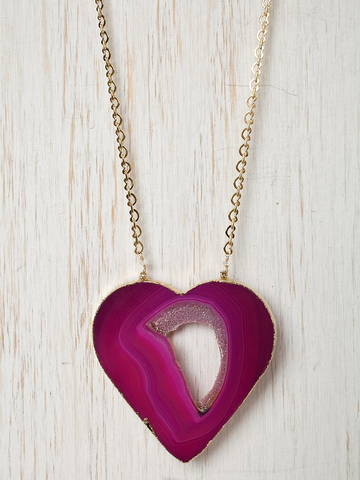 Free People Clothing Boutique > Missing Piece Heart Necklace :  necklace pink dara ettinger agate