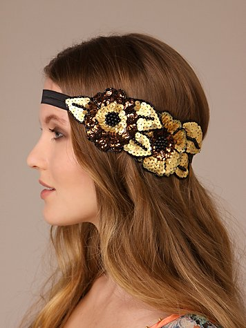 Free People Clothing Boutique > Flower Cluster Sequin Applique Headband :  flower headband black unique