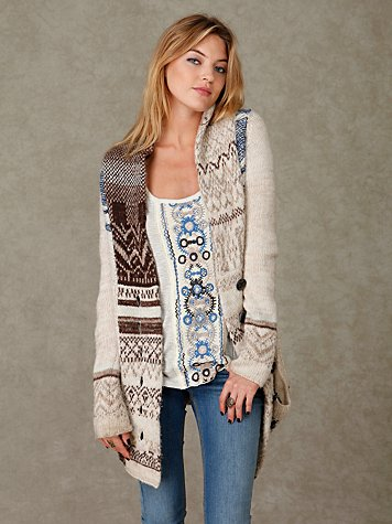 Scenes in Fairisle Cardigan at Free People Clothing Boutique :  cardigans apparel
