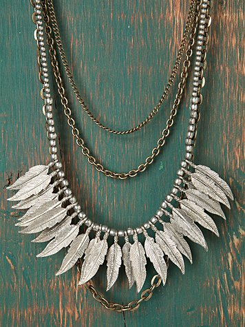Chain & Feather Bib Necklace