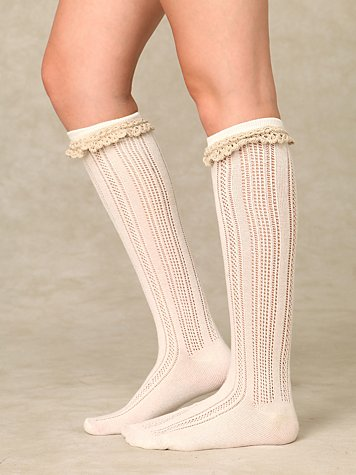 Crochet Ruffle Knee Sock