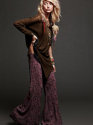 FP ONE  Floral Fields Wideleg Pant at Free People Clothing Boutique :  pants wideleg free people bottoms