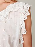 Ruffled Eyelet One Shoulder