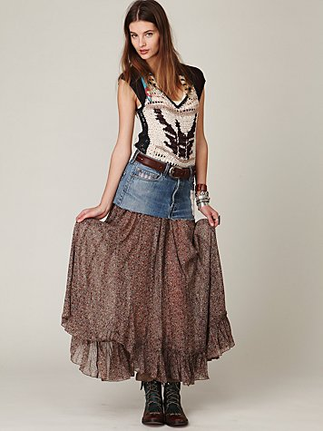 FP ONE Mini Denim Print Maxi Skirt