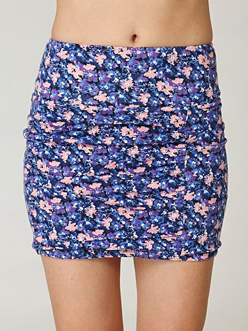 Watercolor Floral Scrunch Skirt
