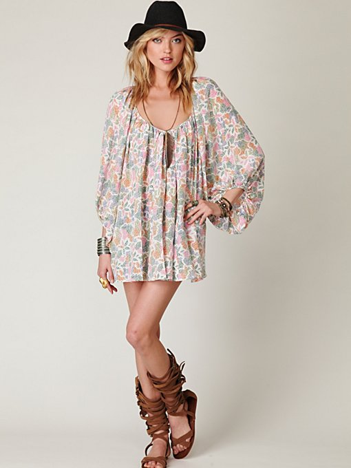 Printed Oversized Peasant Dress