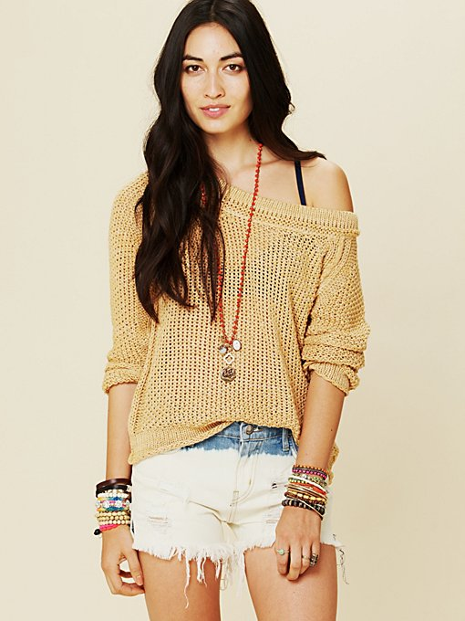 Free People Marled Yarn Pullover in Sweaters
