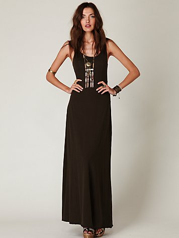 Seamed Open Back Maxi Dress
