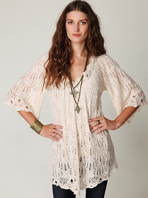 Open Stitch Short Sleeve Tunic