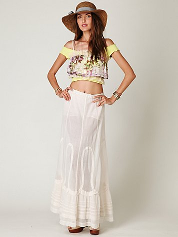 Cotton Mesh Maxi Skirt