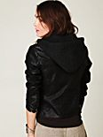 Hooded Vegan Leather Jacket