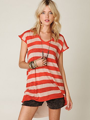 Short Sleeve Stripe Chiffon Back Tunic
