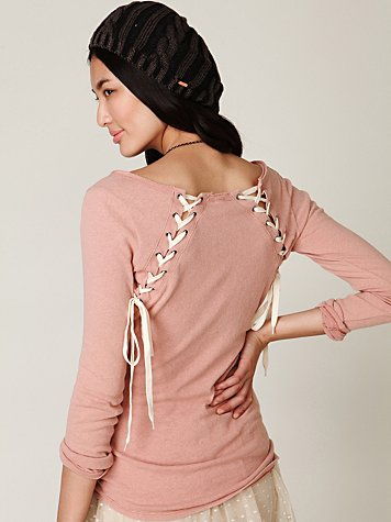 We The Free Lace Up Back Layering Top