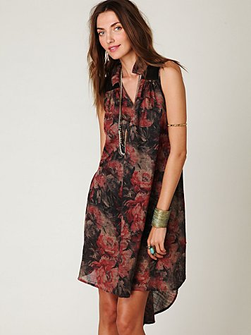 Free People Sheer Printed Collar Buttondown Day Dress