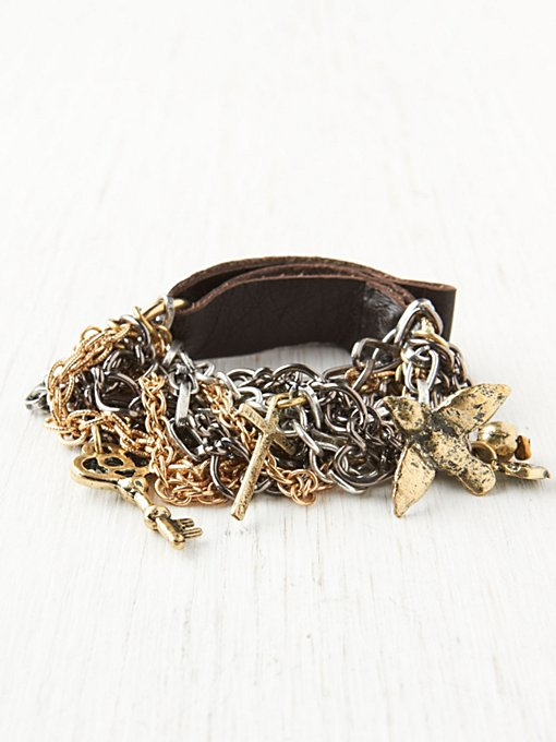 Leather and Mixed Charm Bracelet