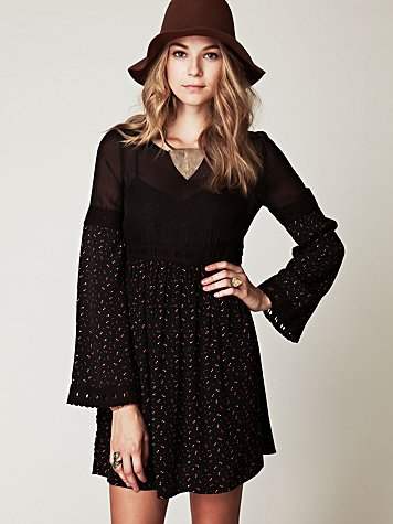 Free People Retro Print Long Sleeve Dress