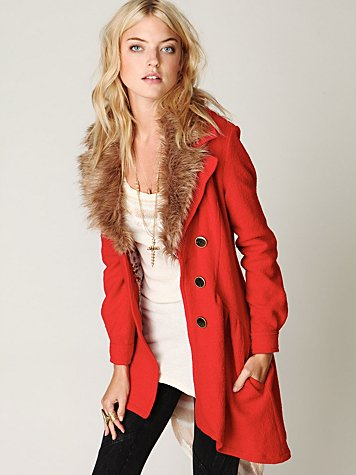 Free People Fur Trimmed Wool Coat