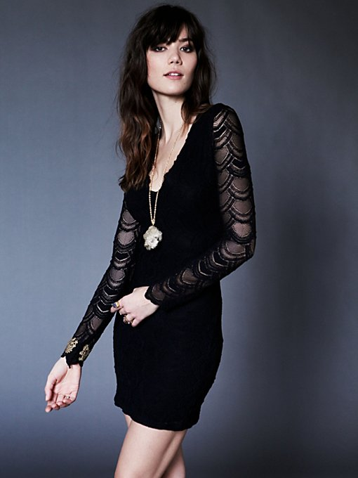 Nightcap Deep V Long Sleeve Lace Dress in maxi-dresses