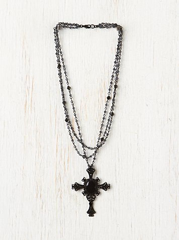 Free People Rosary Cross Necklace