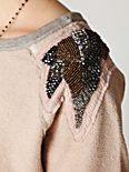 Beaded Shoulder Shrunken Pullover