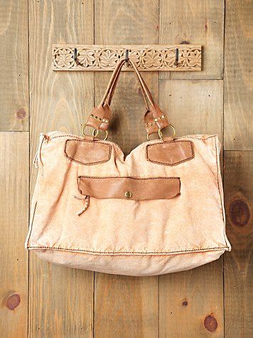 Free People Sunbleached Leather Trim Tote