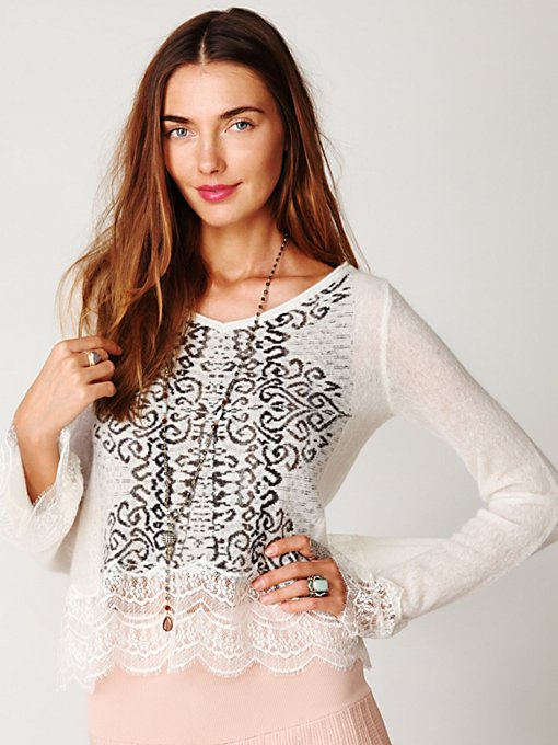 Fairisle Lace Trim Pullover