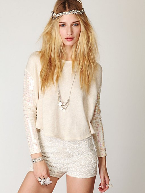 Sequin Sleeve Pullover
