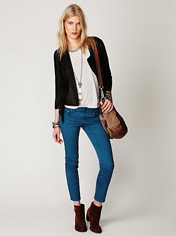 Colored Denim Skinny Ankle Crop