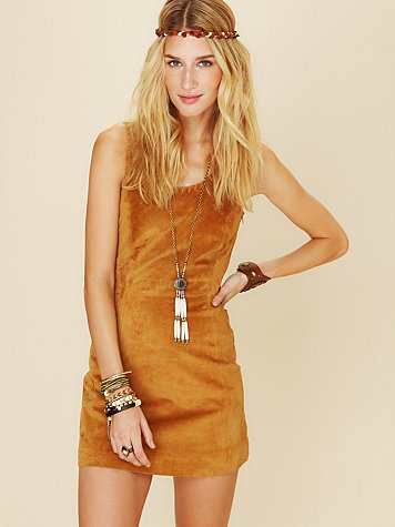 Suede Mini Dress with Lace Up Open Back