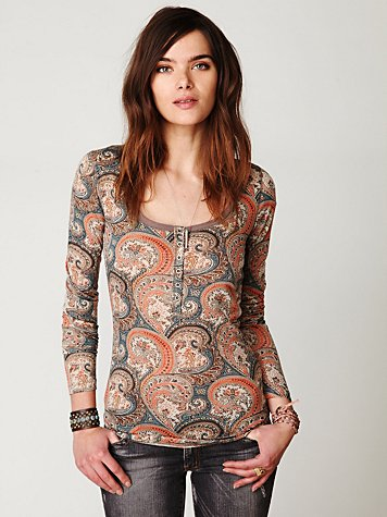 Paisley Printed Long Sleeve Top