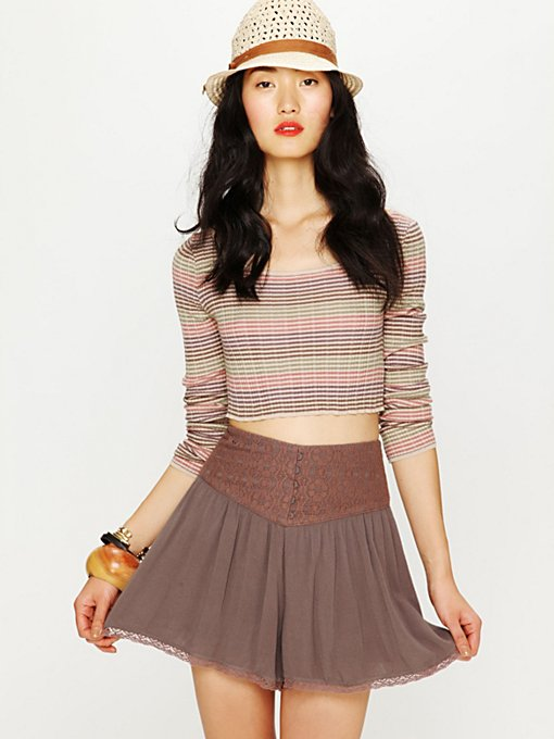 High Waist Crochet Yoke Skort