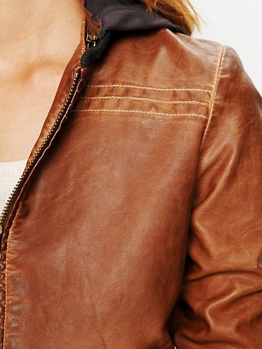 Brown Hooded Vegan Leather Jacket