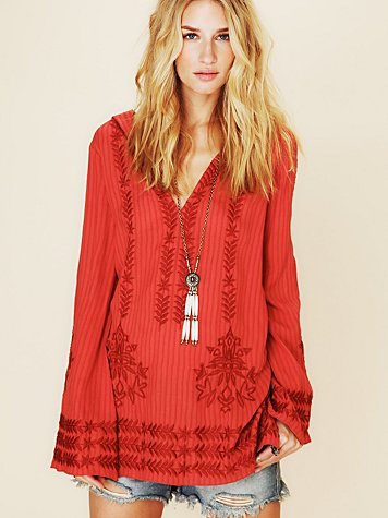 Free People Stripe Hooded Embroidered Tunic