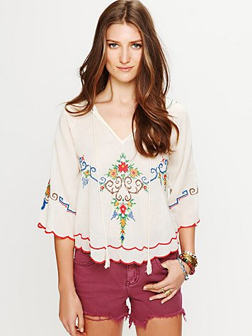 Free People Crewelwork Hooded Top