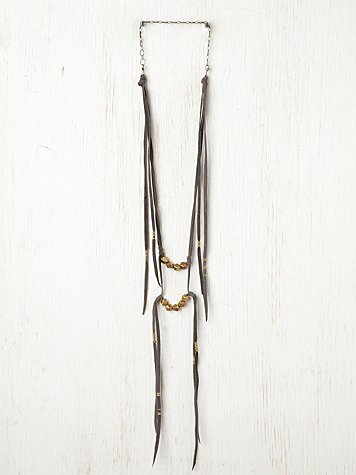Marisa Haskell Bolt Suede Ladder Necklace
