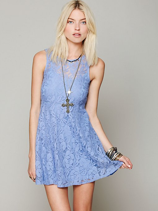 Free People Sleeveless Miles of Lace Dress in lace-dresses