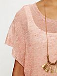 Short Sleeved Marled Long Sweater Tee