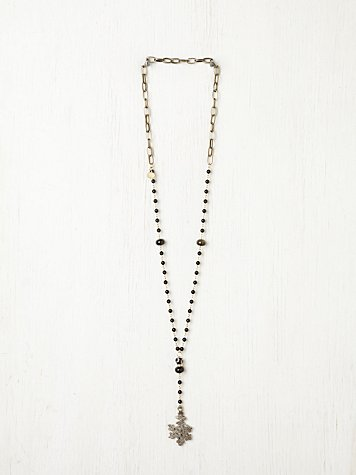 7 Stitches Jet Black Rosary Necklace