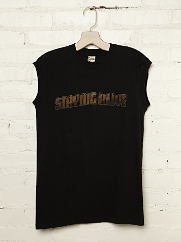Free People Vintage Staying Alive Graphic Tank