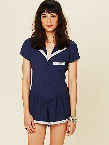 Free People Short Sleeved Pj Top