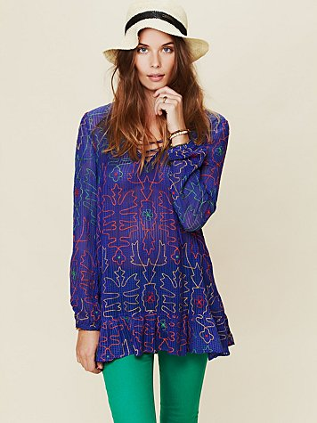 Free People Neon Floral Embroidered Tunic
