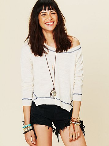 Free People Fine Gauge Hi Low Pullover