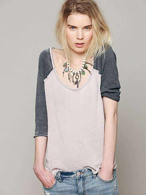 Free People We The Free Long Sleeve Cotton Candy Burnout Top in designer-brand-clothing