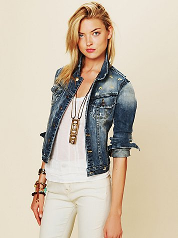 Artisan De Luxe Diamond Embroidered Denim Jacket