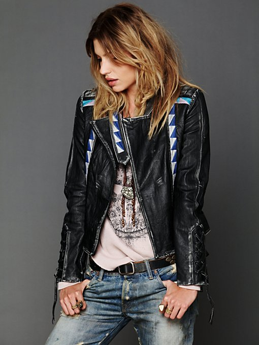 April May Vanesa Embroidered Leather Jacket in Jackets