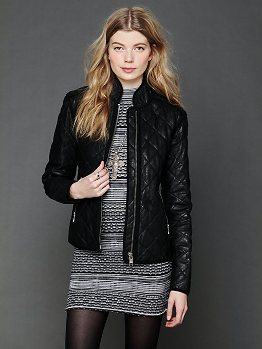 Closed  Quilted Leather Jacket in Jackets