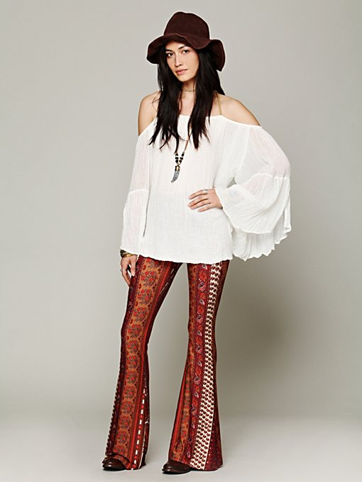 Border Print Bell Bottoms in clothes-pants
