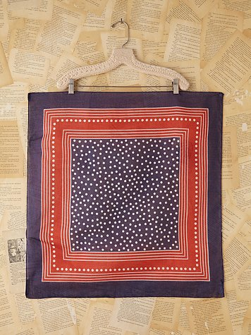 Free People Vintage Patriotic Dotted Silk Scarf